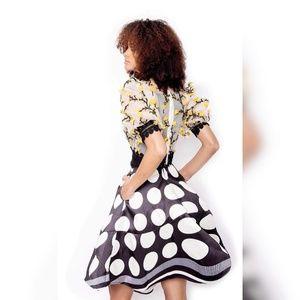 SotheaStudio Skirts - tulle see-through lace  blouse + satin slit skirt